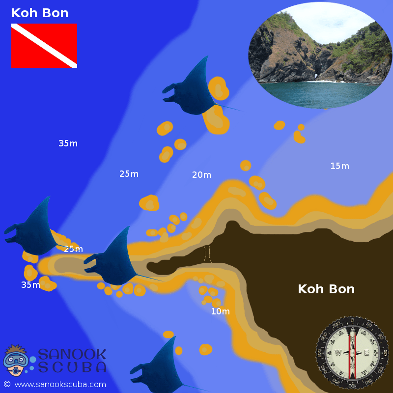 Koh Bon dive site map