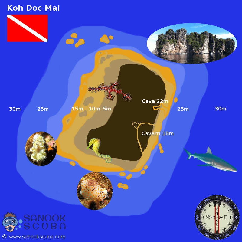 Koh Doc Mai dive site map