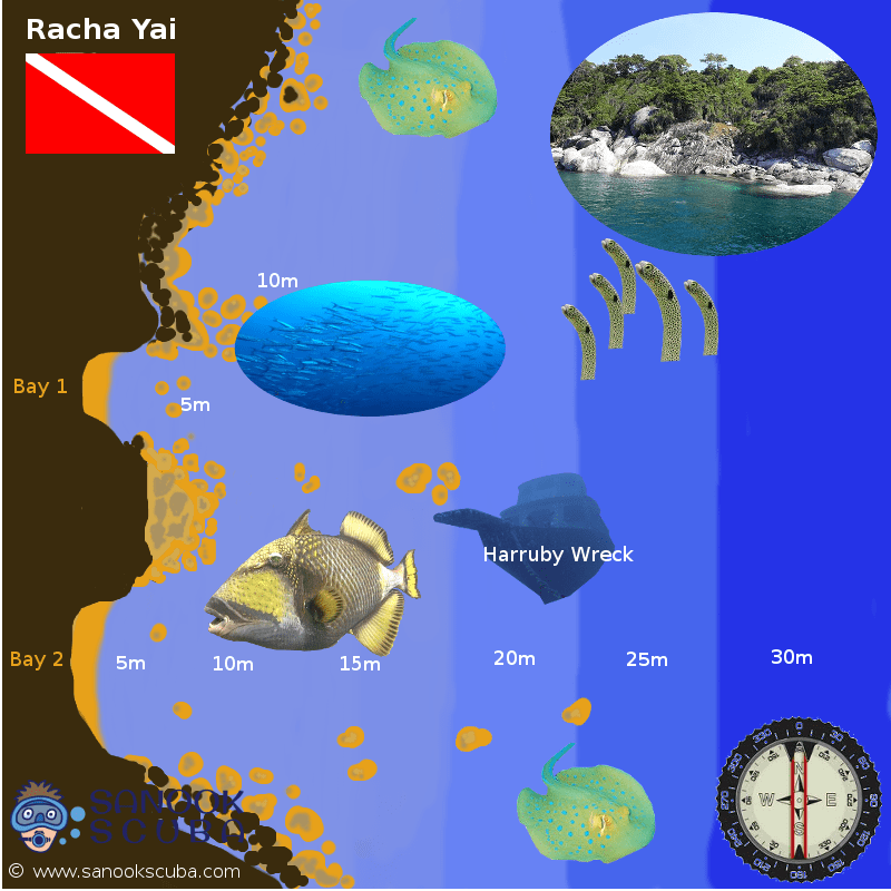 Racha Yai west coast dive site map