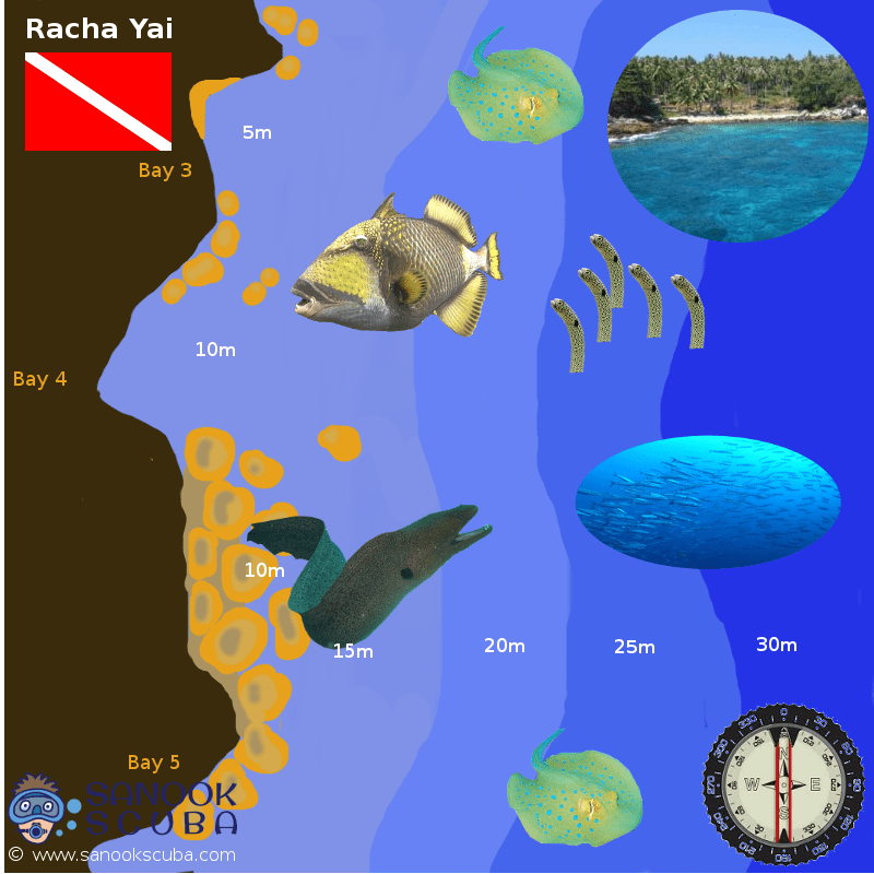 Racha Yai dive sites map