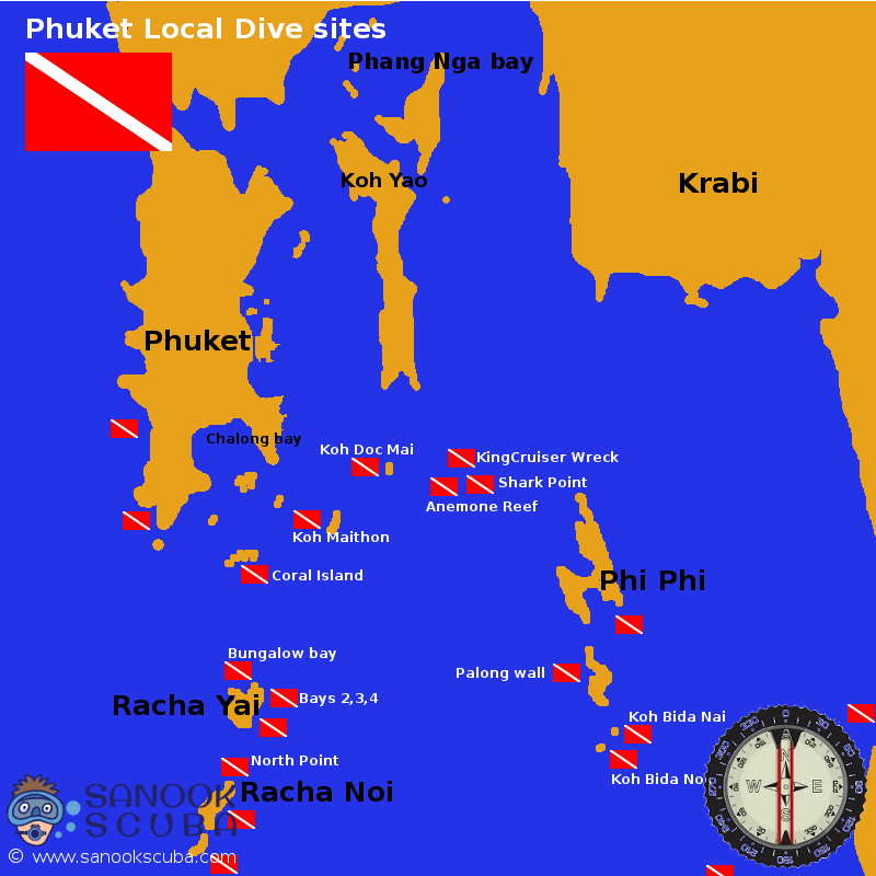 Phuket dive sites map