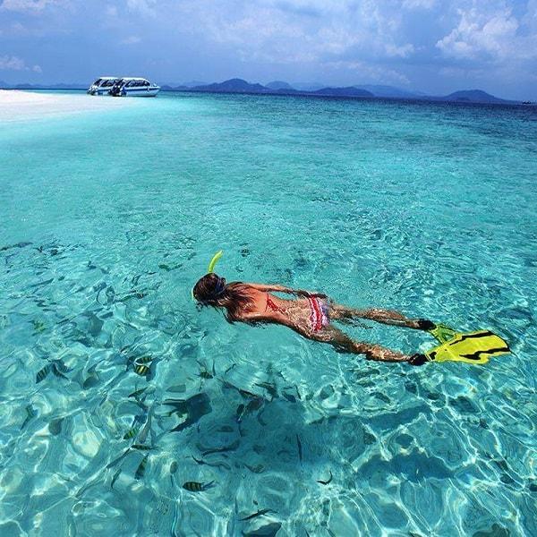 Snorkeler at Bamboo Island
